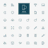 25 web minimal line icons Stock Photo
