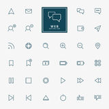 32 web minimal outline icons. Vector Stock Image