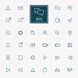 32 web minimal outline icons Stock Image