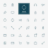 32 web minimal outline icons. 32 web outline icons vector Stock Photography