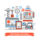 Web and mobile app designing, coding concept. Web and mobile app designing and coding concept. Flat style line art illustration Royalty Free Stock Photography