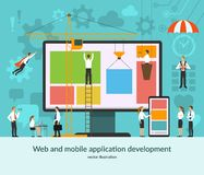 Web and mobile application development concept vector illustration