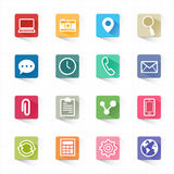 Web mobile applications flat icons set and white background Royalty Free Stock Image