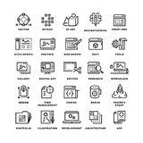 Web and mobile apps development line vector icons. 3d art icon, brainstorming development design ui, web soft app,  digital app mobile illustration Stock Photo