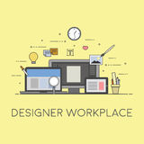 Web and mobile design and developing. Designer workplace. Flat vector illustration. Concept picture of workplace Stock Photos