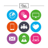 Web, mobile devices icons. Share, mail signs. Stock Image