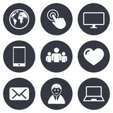Web, mobile devices icons. Share, mail signs Royalty Free Stock Image