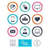 Web, mobile devices icons. Share, mail signs. Royalty Free Stock Photography