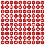 100 web and mobile icons hexagon red. 100 web and mobile icons set in red hexagon isolated vector illustration Stock Photo