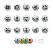 Web and Mobile Icons 1 // Metal Round Series Royalty Free Stock Photo