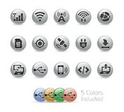 Web and Mobile Icons 6 // Metal Round Series Royalty Free Stock Photography