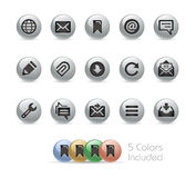 Web and Mobile Icons 9 // Metal Round Series Royalty Free Stock Photos