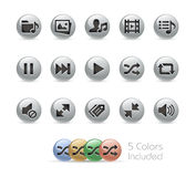 Web and Mobile Icons 7 // Metal Round Series Stock Photo