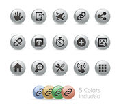 Web and Mobile Icons 10 // Metal Round Series Royalty Free Stock Image