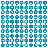 100 web and mobile icons sapphirine violet. 100 web and mobile icons set in sapphirine hexagon isolated vector illustration Stock Images