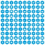100 web and mobile icons set blue. 100 web and mobile icons set in blue hexagon isolated vector illustration Vector Illustration