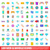 100 web and mobile icons set, cartoon style Stock Image