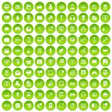 100 web and mobile icons set green. 100 web and mobile icons set in green circle isolated on white vectr illustration Stock Illustration