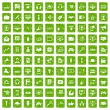 100 web and mobile icons set grunge green. 100 web and mobile icons set in grunge style green color isolated on white background vector illustration Stock Photos