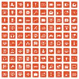 100 web and mobile icons set grunge orange. 100 web and mobile icons set in grunge style orange color isolated on white background vector illustration vector illustration