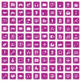 100 web and mobile icons set grunge pink. 100 web and mobile icons set in grunge style pink color isolated on white background vector illustration vector illustration
