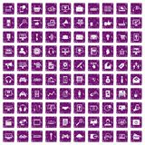 100 web and mobile icons set grunge purple Royalty Free Stock Images