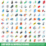 100 web and mobile icons set, isometric 3d style Stock Photos