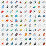 100 web and mobile icons set, isometric 3d style Stock Image