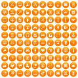 100 web and mobile icons set orange. 100 web and mobile icons set in orange circle isolated on white vector illustration Stock Image