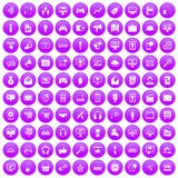 100 web and mobile icons set purple. 100 web and mobile icons set in purple circle isolated on white vector illustration Stock Image