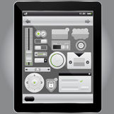 Web and mobile interface elements and tablet pc Royalty Free Stock Images