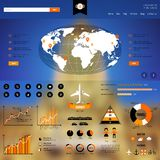Web and mobile template with infographics icons. Stock Photos