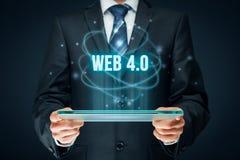 Web 4.0 - mobile web. Modern internet concept. Businessman think how to capitalize web 4.0 mobile web trend stock photos