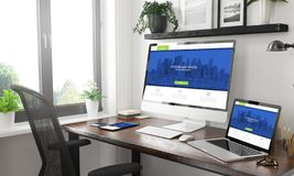 web moderno rispondente del modello rispondente in bianco e nero dei dispositivi immagine stock