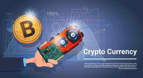 Web Money Bitcoin Crypto Currency Concept Banner With Copy Space. Vector Illustration Royalty Free Stock Images