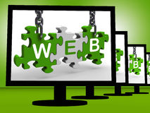 Web On Monitors Shows Website Information Royalty Free Stock Photos