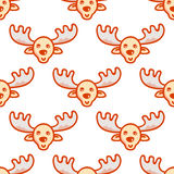 Web. Moose. hand drawn tileable background, design element for greeting card, fabric, wrapping paper. Christmas and New Year deer seamless pattern Stock Photos