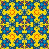Moroccan tile - seamless ornament. Yellow, orange, blue elements. royalty free illustration