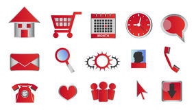 Web and multimedia glossy red icons and buttons Stock Images