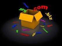 Web names registration. 3d illustration of web names registration concept, over black background Stock Photos