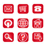 Web Nav Icon Red. General icons on white background Stock Photo