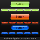 Web navigation. Collection of web buttons with three different colors Stock Photos