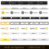 Web navigation. Collection of website navigation in orange-black style Royalty Free Stock Photography