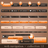 Web navigation. Collection of website navigation in orange-brown style Stock Photography