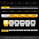 Web navigation. Collection of website navigation for web in yellow-black-white style Stock Photo