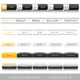 Web navigation. Collection of website navigation for web in yellow-black-white style Stock Image