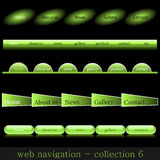 Web navigation. Collection of web navigation in glow-green style Royalty Free Stock Photography