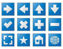 Web navigation buttons blue Stock Images