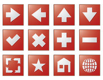 Web navigation buttons red Stock Photography