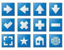 Web-Navigation knöpft Blau Stockbilder